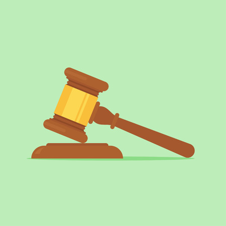 Gavel vector illustration. Gavel judge in a flat style. Gavel icon flat. Gavel isolated on a colored background. Gavel law concept.