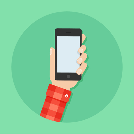 Hand with phone vector illustration. Mans hand with phone. Hand with phone flat illustration. Hand holding a phone concept. Smartphone in hand. Hand with phone isolated on background.
