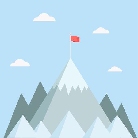 Boven op de berg vector illustratie. Piek van de berg in een vlakke stijl. Berg met vlag. Concept ter illustratie doelen bereiken, succes. Bergtop met vlag. Stock Illustratie