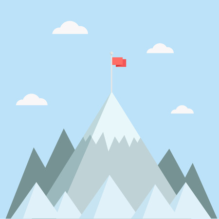 Mountain top vector illustration. Mountain peak in a flat style. Mountain with flag. Concept for illustration goals achievement, success. Mountain top with flag. Çizim