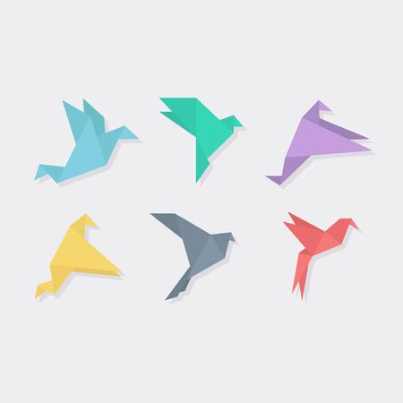 フラット スタイルの折り紙の鳥。折り紙の鳥のベクトル図です。折り紙の鳥のベクトルのセット。折り紙鳥が飛んでいきます。 鳥折り紙。紙から鳥  イラスト・ベクター素材