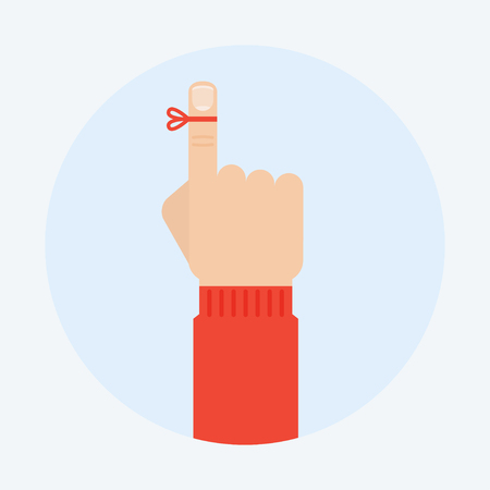 remind: Reminder vector illustration. Reminder finger in a flat style. Reminder string concept. Dont forget the ribbon on a finger. Reminder icon.