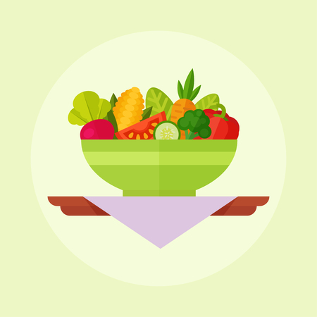 Salade vector illustratie. Salade die op een gekleurde achtergrond. Slakom in vlakke stijl. Concept verse, natuurlijke, gezonde voeding. Plantaardige salade in een plaat. Flat pictogram salade. Vector Illustratie