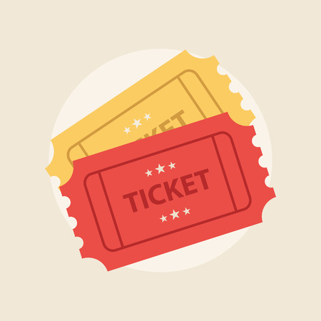 Ticket icon in the flat style. Ticket vector illustration. Ticket stub isolated on a background. A ticket to the cinema or a concert. Vectores