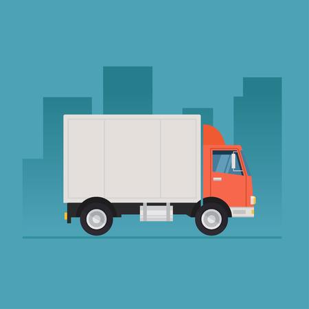 トラック ベクトル イラスト。色付きの背景に分離されたトラック。 配送と運送の概念図。フラット スタイルのトラック アイコン。道路にトラック