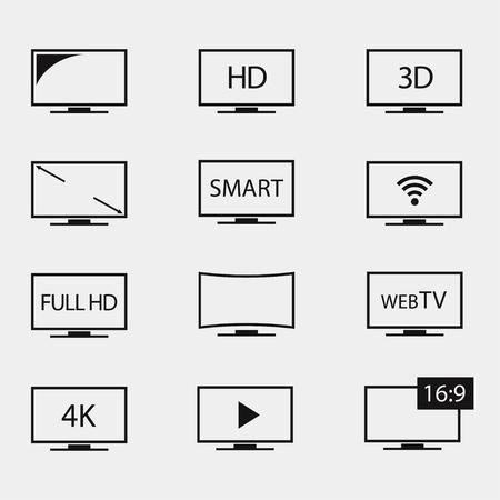 TV iconen set. Tv-schermen op een witte achtergrond. TV icoon vector. TV geïsoleerde silhouetten. TV vector simbol. TV icoon plat.