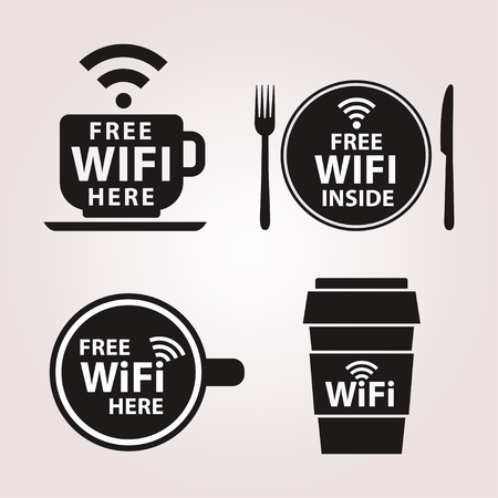 free: Wifi zone sticker. Free Wifi vector signs. Wifi hotspot set of emblems. Symbols free internet. Free Wifi spot badge.