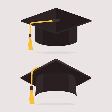 卒業キャップ ベクトル イラスト。フラット スタイルの帽子を卒業。学術キャップを設定します。背景に分離された卒業の帽子。卒業キャップ フラ