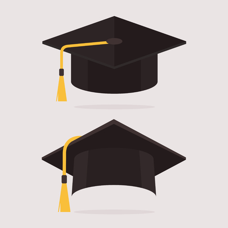 casquillo de la graduación ilustración vectorial. sombrero de graduación en el estilo plano. tapas académicos establecidos. Casquillo de la graduación aislado en el fondo. casquillo de la graduación icono plana.