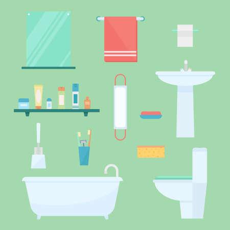 inodoro: elementos de baño. Cuarto de baño entre vectores. Equipamiento del baño. lavabo bañera, lavabo, espejo, toallas, jabón. Diseño de baño de estilo plano. aislado muebles de baño. arquitectura de baño.