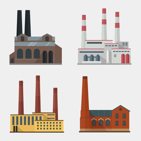 set vector de fábrica. Edificio de fábrica. icono de la fábrica en el estilo plano. edificio de la fábrica industrial. concepto de fábrica. Fábrica aislado del fondo. Fabricación de construcción de la fábrica. piso de la fábrica.