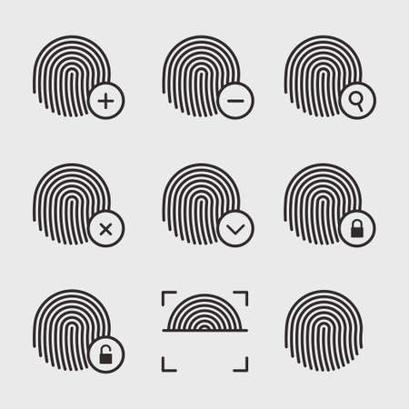 dactylogram: Fingerprint icons vector set. Fingerprint identification signs.  Finger print icons on a white background. Scanning and protection of fingerprints. Fingerprint vector symbols. Lock and unlock by fingerprints.