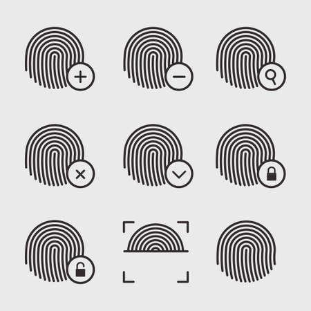 odcisk kciuka: Papilarnych zestaw ikon wektorowych. Znaki identyfikacyjne linii papilarnych. Ikony odcisków palców na białym tle. Skanowanie i ochrona palców. Papilarnych symbole wektorowe. Blokowanie i odblokowywanie odciskami palców.