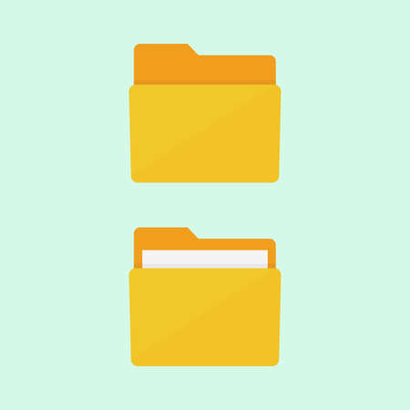 folder: icono de la carpeta. ilustración vectorial carpeta. carpeta de archivos de estilo plano. Carpeta de documentos. Carpeta aislado de fondo. Icono de la carpeta plana. carpetas de la oficina. Vectores