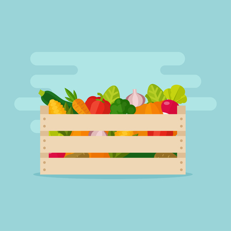 Fresh vegetables in a box. Wooden box with garden vegetables. Natural, healthy food concept. Organic vegetables collected in the crate. Vegetables from the farm. Vectores