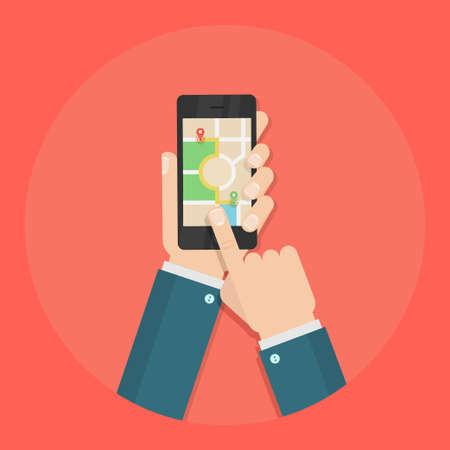 to navigation: Gps ilustraci�n vectorial de navegaci�n. icono de gps en estilo plano. GPS que sigue el concepto. sistema GPS en el tel�fono. navegador GPS m�vil en la mano. Gps mapa en la pantalla de un tel�fono inteligente.