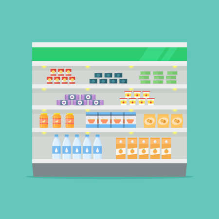 grocery shelves: Supermarket shelf vector illustration. Store shelves in a flat style. Grocery shelves. Market shelf with products. Interior shop shelves with food.