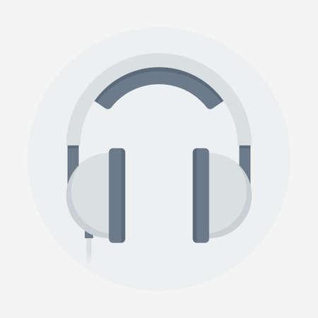 audifonos: ilustración vectorial auriculares. Auriculares aislados. Auriculares icono de estilo plana. auriculares grises sobre un fondo claro. Concepto para ilustrar la música, audio y sonido.