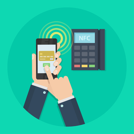 technology transaction: Nfc payment vector illustration. Mobile payment concept. Nfc technology. Mobile payment trough POS. Nfc icon. Making wireless transactions. Nfc pay.