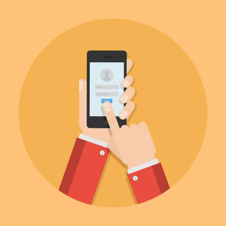 privacidad: Contraseña de la ilustración del vector del teléfono. Accede aplicación móvil. Introduce el concepto de su cuenta. diseño de seguridad del teléfono. El acceso a teléfono en estilo plano. la identificación del usuario. Vectores