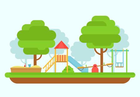 kinder: ilustración vectorial parque infantil. parque infantil. Parque de juegos en un estilo plano. Patio de la escuela. parque infantil con columpios, un tobogán, un cajón de arena. concepto de parque infantil jardín de infancia. Vectores