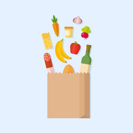 Ilustración vectorial de comestibles bolsa. bolsa de supermercado con productos frescos. bolsa de supermercado con lo que cae en frutas y verduras. aislado bolsa de papel. Concepto de compra de comestibles. Ilustración de vector