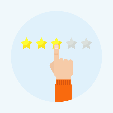 Rating vector illustration. Rating icon. Customer reviews, feedback concept. Hand puts star rating. Setting evaluation. Scale rating with a hand. Review icon.