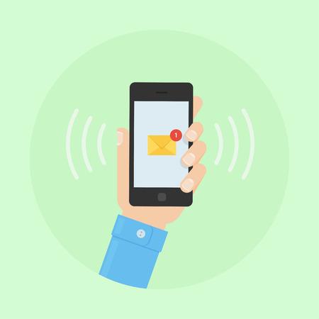 SMS メッセージの設計図。携帯電話に SMS のアラート。SMS はベクトル フラットのイラストです。携帯電話の SMS。SMS メッセージの送受信。