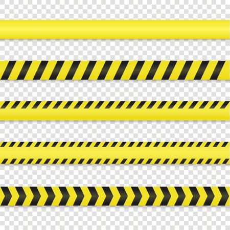 escena del crimen: La policía de línea y el conjunto de cinta de peligro. Advertencia ilustración vectorial cinta. No cruce la cinta aislado en el fondo. Cinta de precaución. ? Cinta escarcha escena con la sombra. líneas de advertencia negro amarillo.