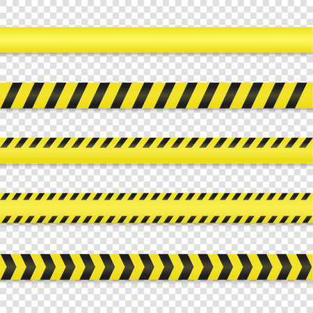 Police line and danger tape set. Warning tape vector illustration. Do not cross tape isolated on background. Caution tape. ?rime scene tape with shadow. Yellow black warning lines. Vettoriali
