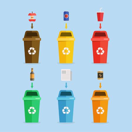 Waste management concept illustration. Waste segregation. Separation of waste on garbage cans. Sorting waste for recycling. Disposal waste. Stock Illustratie