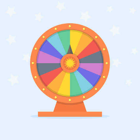 wheel of fortune: Wheel of fortune vector illustration. Wheel of luck in flat style. Game wheel on colored background. Empty wheel of fortune.