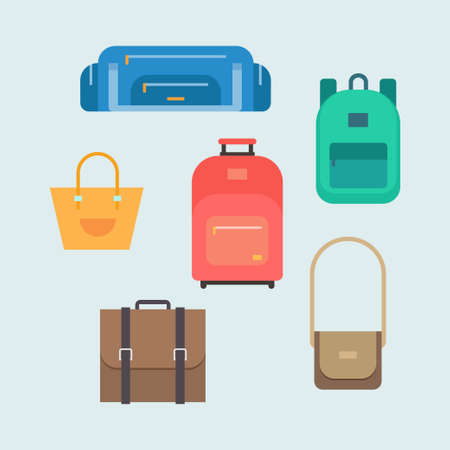 travel bags: Bags vector set. Bags isolated from the background. Bags travel in a flat style. Bags icon. Sports bag, school bag, ladies handbag, suitcase, briefcase, shoulder bug vector illustration.
