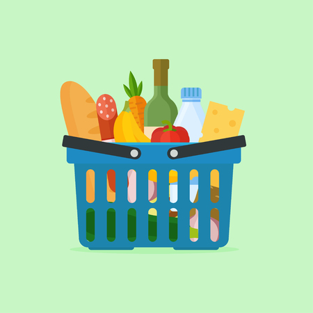 foodstuff: Supermarket basket full of fresh produce. Food basket with natural food. Shopping basket vector illustration. Grocery basket with vegetables and fruit. Concept supermarket shopping.