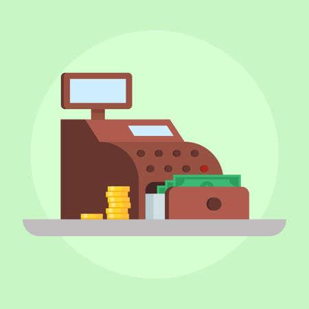 pay money: Cash register vector illustration. Cash register icon. Cash register isolated on light background. Cash register flat. Cash register with money. Cash register checkout.