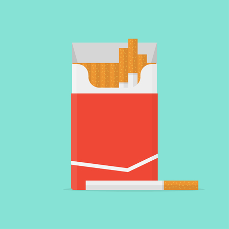 baccy: Cigarette pack in flat style. Cigarette isolated. Cigarette box on color background. Cigarette icon. Cigarette vector illustration. Open cigarettes pack. Illustration