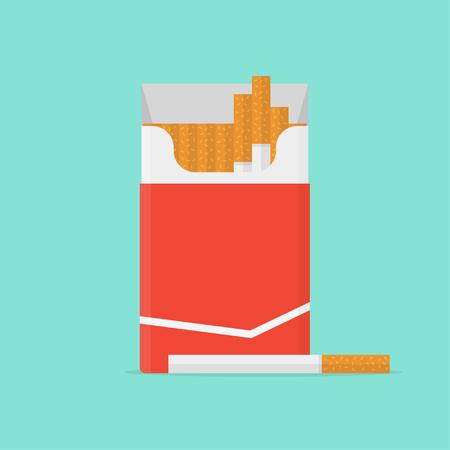 Cigarette pack in flat style. Cigarette isolated. Cigarette box on color background. Cigarette icon. Cigarette vector illustration. Open cigarettes pack. Illustration