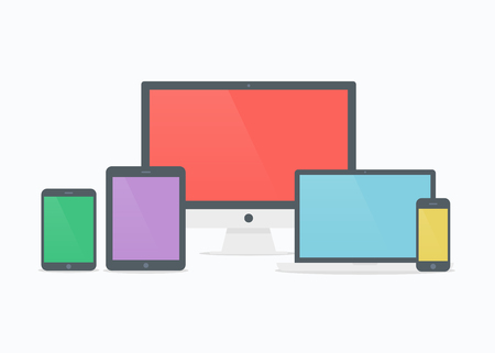 tablet computer: Devices vector illustration. Devices isolated. Devices in flat style. Devices icon. Devices mockup on white background. Mobile devices. Picture computer, laptop, tablet and phone.