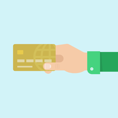 hand holding card: Hand with card. Hand holding card vector illustration. Credit card in hand. Giving credit card in flat style. Hand holding credit card. Mans hand keeps bank card.