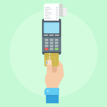cashless payment: Pos payment. Payment credit card concept. Pos pay. POS terminal with inserted credit card. Pos payment vector illustration. Payment with a credit card machine. Cashless vending.
