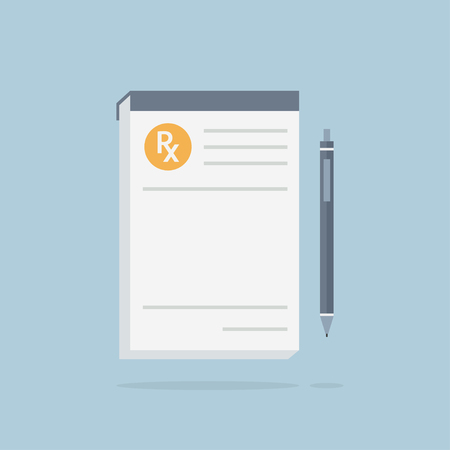 note pad and pen: Prescription pad. Medical prescription vector illustration. Prescription icon. Prescription with pen. Prescription paper in flat style. Rx prescription form.