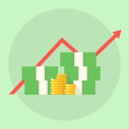 rise to the top: Profit concept. Financial growth. Profit vector illustration. A stack of money up arrow. Profit graph in flat style. Business success. Profit growth design. Profit margin image.