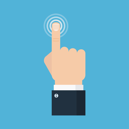 hand press: Touch icon concept. Hand touch vector illustration. Touch, push or press sign. Hand touch isolated. Finger presses. Hand touch digital. Hand click icon.