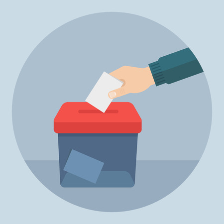 Vote vector illustration. Ballot and politics. Vote icon in flat style. Hand puts voting ballot in ballot box. Voting and election concept. Make a choice image. Vote design. Stock Illustratie
