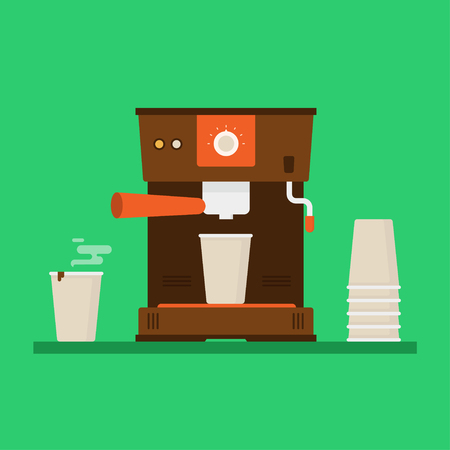 Coffee machine vector illustration. Coffee machine in flat style. Coffee machine office. Coffee machine kitchen with plastic cups. Coffee machine isolated on colored background. Coffee machine home.