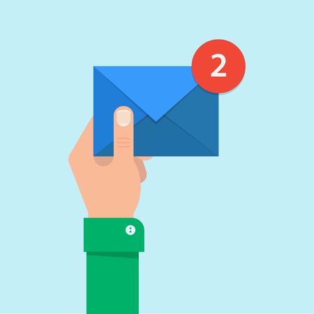 Wiadomość e-mail koncepcji. Nowy, przychodzące wiadomości SMS. Ręka trzyma kopertę, list. Dostarczenie wiadomości SMS. mail, wysyłanie wiadomości. Get mail, wiadomość na czacie. Coming wiadomości. Ilustracje wektorowe