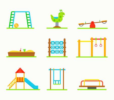 schoolyard: Playground equipment vector illustration.  Swings, slides, sandbox, carousel. Playground equipment isolated. Equipment for playground park. Playground equipment in flat style. Playground equipment set.