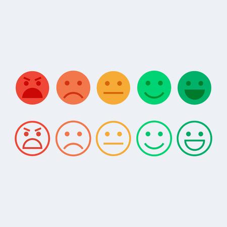 피드백 벡터 개념입니다. 순위, 만족도의 수준입니다. 감정, 스마일, 이모티콘 형태의 피드백. 사용자 경험. 고객 의견. 소비자의 검토. 피드백 평면 아