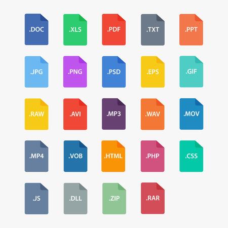 Presentar tipo de icono. Las extensiones de archivo ilustración vectorial. Tipo de archivo de estilo plano. Los tipos de documentos. Presentar el tipo de símbolo. Los formatos de archivo firman. tipo de archivo populares. los iconos de archivos aislados. Tipo de archivo de imagen.