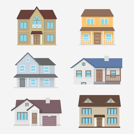 home exterior: House vector illustration. Home exterior set. House icon in flat style. House modern and traditional. Residential house collection. House isolated the background. Home design. Illustration